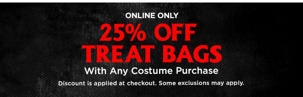 25% Off treat bags with any costume purchase