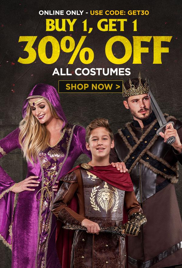 BOGO 30% off costumes