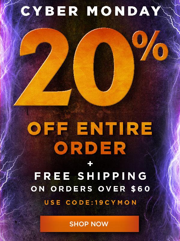 20% off order plus free ship over $60 code 19CYMON