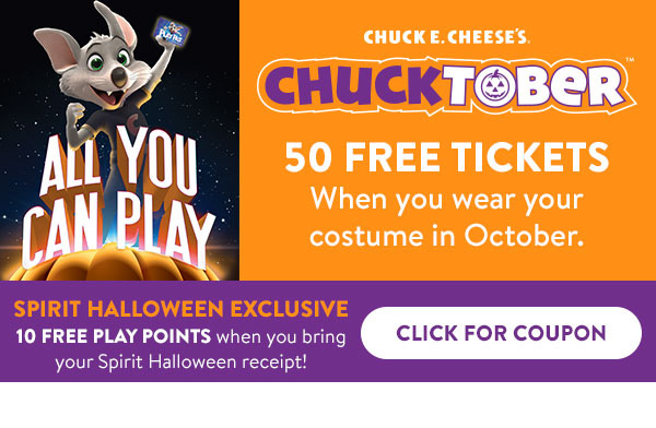 Click for 10 Free Play Points at Chuck E Cheese when you bring in your Spirit Halloween receipt